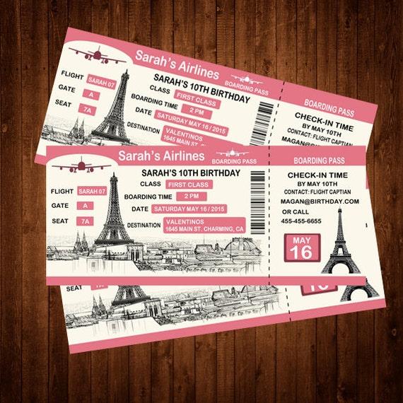 Custom boarding pass birthday invitation personalized paris filmwisefo