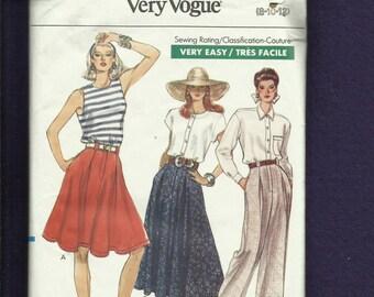1989 Vogue 7448 vorne fliegen ausgestellte Röcke mit Kellerfalten & Hose mit Seitennaht Taschen Größen 8..10..12