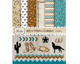 Digital Western Scrapbook Paper Borders-Clip Art Pack Cowboy Instant Download 6 Papers, Blue Borders, Clip Art, digital collage