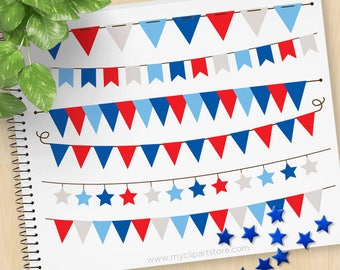 4th of July, Independence Day Bunting, Banners, Flags, stars, stripes, USA, America, Patriot, Commercial Use, Vector Clipart, SVG Files