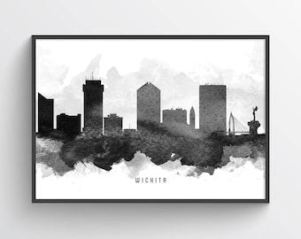Wichita Skyline Poster, Wichita Cityscape, Wichita Art. Wichita Decor, Home Decor, Gift Idea, USKSWI11P