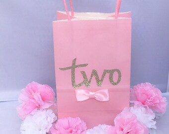 "Birthday Party Favor Bags Pink and Gold Second Birthday for Candy, Treats, Goody Bag ""Two"" set of 12"