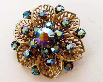 Vintage Blue Iridescent Aurora Borealis  Pin,  Brooch