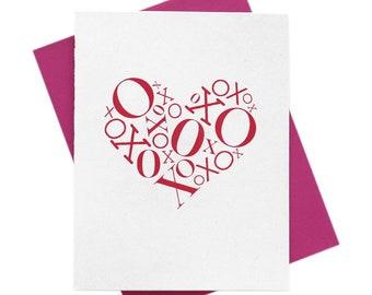 XOXO HEART Cute VDAY Card, Valentine's Day, Be Mine, Love, Amor, I Love You, Romance, Anniversary Pink Hearts Greeting Card, Ready to Ship!