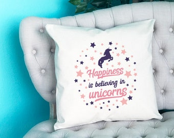 "Happiness is Believing in Unicorns Pillow, Throw Pillow, Pillow Case, Throw Pillow Cover, Home Decor, Accent Pillow, 18x18"" Made in USA"
