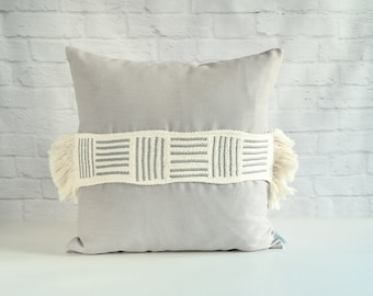 Grey tribal pillow, Moroccan pillow, Simple modern pillow, Decorative pillow, Spring decor pillow, Applique pillow, Linen pillow cover