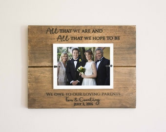 Parents of Bride and Groom Wedding Thank You Gift Frame, Picture Frame, Photo Keepsake Mother Father Gift