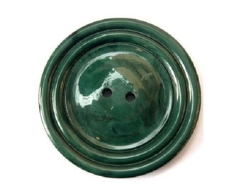 Vintage plastic buttons, giant, beautiful green, 44mm, 5.5mm thick