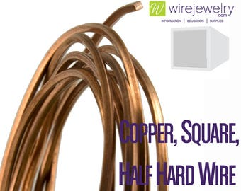 Copper, Square, Half Hard Jewelry Wire, Various Gauges & Lengths