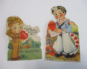 Vintage Childrens Valentine Day Cards Lot-Ephemera-Mixed Media-Paper-Crafts-Scrap Booking-Victorian-1930's-Army & Navy Guys