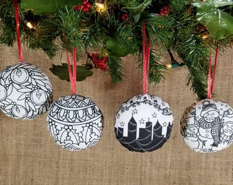 Christmas Coloring Ornament Four Ornament Set, DIY Christmas Ornament, Coloring Christmas DIY Gift, Coworker Gift, Holiday Gift, DIY Kit