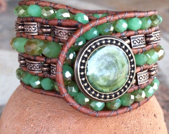 Handmade Beaded Cuff Bracelet, green and brown leather wrap style
