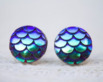 Blue Dragon Earrings, Dragon Scales, Mermaid Scales, Stud Earrings, Dragon Jewellery, Iridescent, Mermaid Jewellery, Mermaid Tail