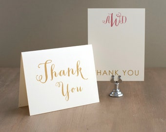 "Glitter Gold Wedding Thank You Cards, Sparkly Bridal Shower, Gold Glitter Envelope Liners - ""Gold & Glitter"""