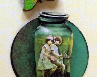 Skeleton Dancing Zombie Twins in a Jar OOAK Handmade Card