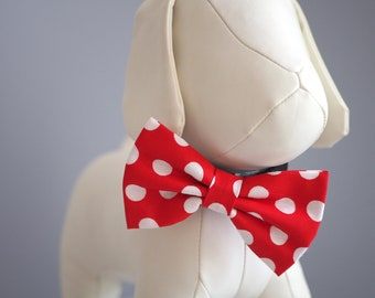 July 4 Red Dog Bow Tie, Patriotic Red Polka Dot Bowties for Dogs, Dress Up, Fancy Dog Collar Bow Tie Velcro fits Small Medium Large Size