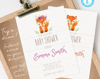 Woodland Baby Shower Invitation Girl, Woodland Baby Shower Girl, Baby Shower Invitation Woodland Girl INSTANT DOWNLOAD personalize at home