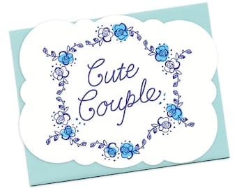 Cute Couple Letterpress Wedding Congratulations Card • LP730