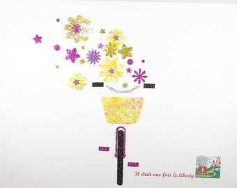Applied fusing bike bicycle yellow flex liberty flowers glitter patch liberty fusible iron-on applique patch