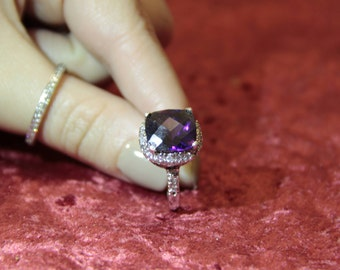 Vintage Sterling silver Facet cut Ametheyst and Cubic Zirconia halo ring