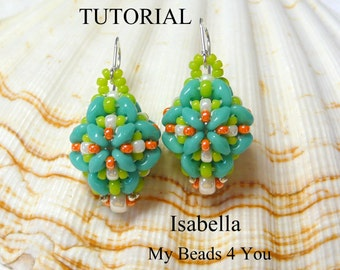 PDF Tutorial Beadwoven Earrings, SuperDuo Tutorial, Seed Bead Earrings, Earring Tutorial, Beadwoven Earrings,Beading Patterns Instructions
