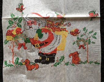 Authentic Vintage Litho Printed Crepe Paper Christmas Decoration for Crafting Etc-Santa,Toy Sack and Wildlife Friends