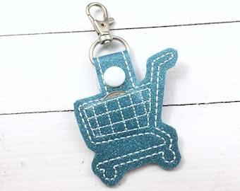 Quarter Keeper Keyring - shopping cart deposit quarter keyfob - clip on quarter minder -Aldi design quarter holder for keychain