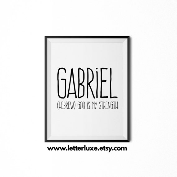 Gabriel printable kids gift name meaning art baby shower negle Image collections