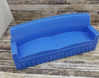 Superior T Cohn Blue   Sofa Living room Vintage Doll House Toy  Hard Plastic