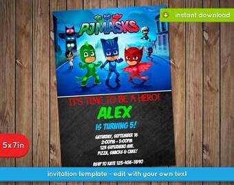Pj Masks Invitation - Printable birthday party invite - INSTANT PDF DOWNLOAD