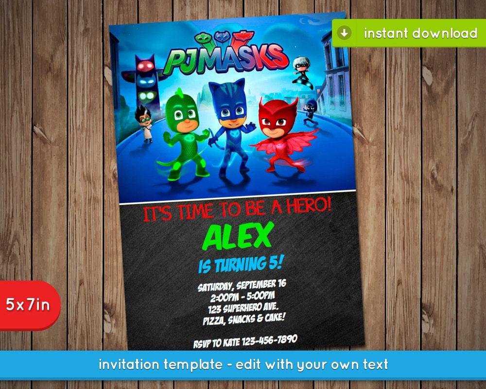 Pj Masks Invitation Printable Birthday Party Invite - Pj masks invitation template free