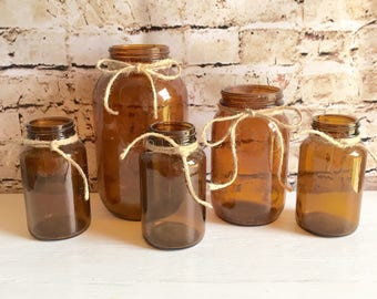 Rustic Vases Amber Brown Glass Jars Tied with Jute Twine Bohemian BoHo Vintage Farmhouse Style Decor