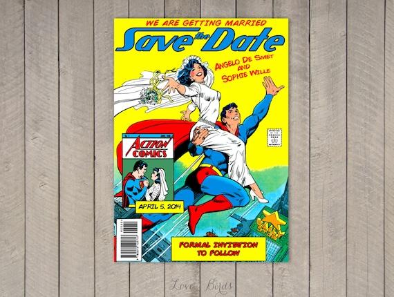 Comic Book Wedding invitation Superman Save the Date Digital