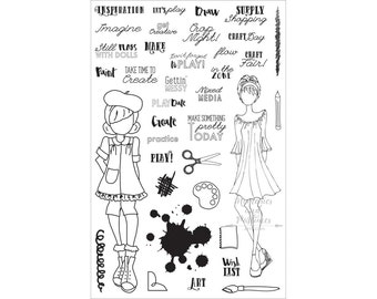 Craft Day Stamps - Crafting Stamps - Planner Stamp Set - BUJO Stamps - Bullet Journal Stamps - Clear Stamp - Julie Nutting My Prima - 240010