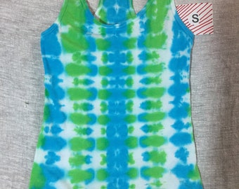 Small Ladies Racerback Tank - bright green & turquoise