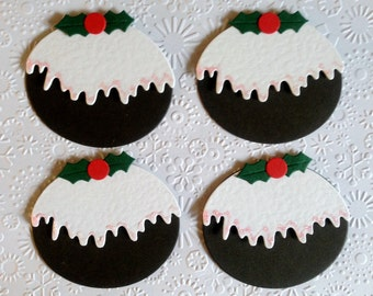 4 Luxury handmade Figgy pudding card toppers for christmas card blanks scrapbooking cardmaking