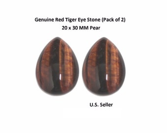 100% Natural Red Tiger Eye Cabochon 20 x 30 MM Pear (Pack of 2)