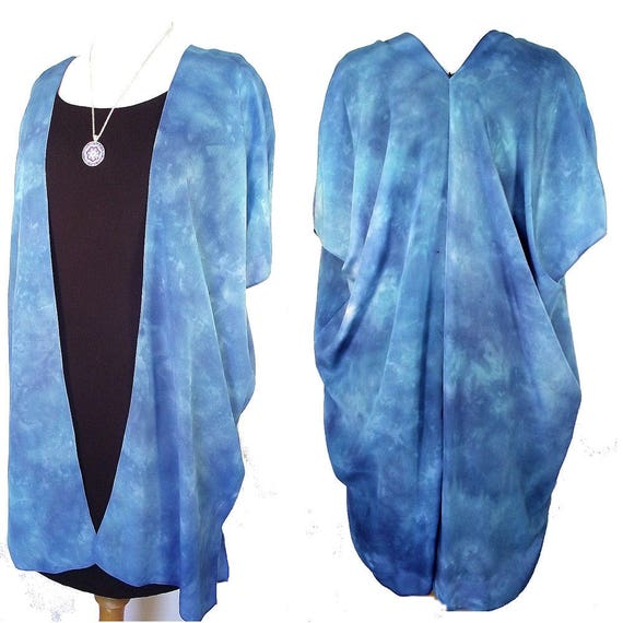 Silk Kimono - Hand Dyed Silk - 3 Shades of Blue in Elegant Silk Crepe -Size S-XL