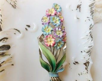Coro Enamel Rhinesone Pin, Long Stem Flowers Brooch, Rhinestone Center Flower Brooch with Enamal Leaves Bow