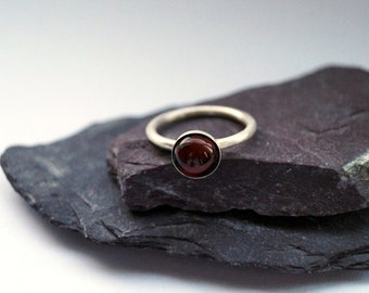 Red Tiger's Eye Sterling Silver Ring ~ statement ring, stacking ring, gemstone, solitaire ring, birthstone