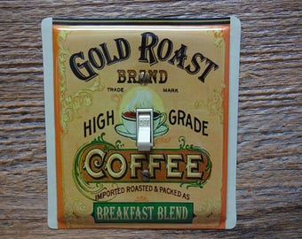 Switch Plate Cover Plates Tin Cans Kitchen Decor Wall Art Gold Roast Coffee Tins Light Switches SP-0373