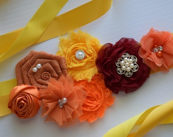 Bright Autumn Sash , flower Belt, maternity sash, wedding sash, flower girl sash, maternity sash belt