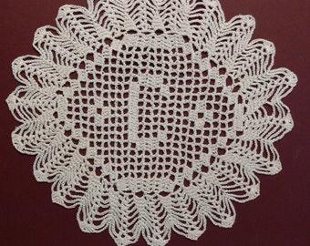 "Custom Handmade Crocheted Initial Doily  ""C"""