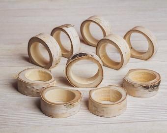 15 set Wood Rustic Ring Napkin Holders Wedding decor Easter napkin rings Wedding Table Decorations Woodland bridal shower Birch Napkin rings