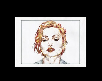"Madonna "", Original Pointillism Portrait 