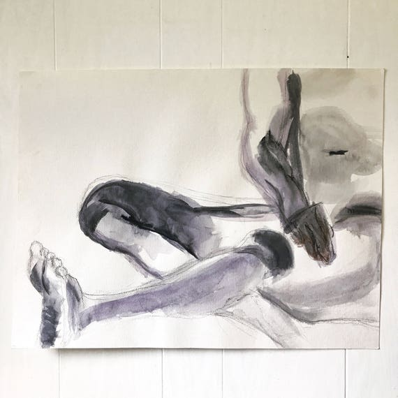 vintage nude male watercolor - original painting - human anatomy study - Oregon artist - 1990s - black and white decor
