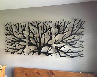 Metal Wall Art Decor 3D Sculpture 3 Piece Tree Brunch Modern Fireplace Decor