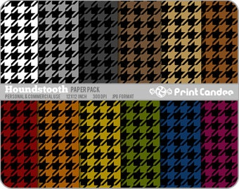 70% OFF SALE! - Houndstooth Paper Pack (12 Sheets)-Personal & Commercial Use - 12x12 sheets Digital Collage Background Sheet