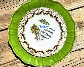 I Love My Mom • Vintage Floral Repurposed Mother's Day Wall Hanging China Art Plate • Family • Love