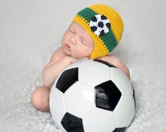 SOUTH AFRICA BABY Soccer Crochet Hat Baby Boy Hats, Baby Boy Clothes, Football Crochet Soccer Hat, Newborn Soccer Gifts, Soccer Knit Hat
